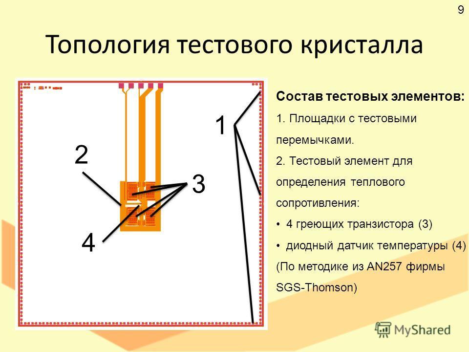 Топология тестового кристалла Состав тестовых элементов: 1. Площадки с тестовыми перемычками. 2. Тестовый элемент для определения теплового сопротивления: 4 греющих транзистора (3) диодный датчик температуры (4) (По методике из AN257 фирмы SGS-Thomso