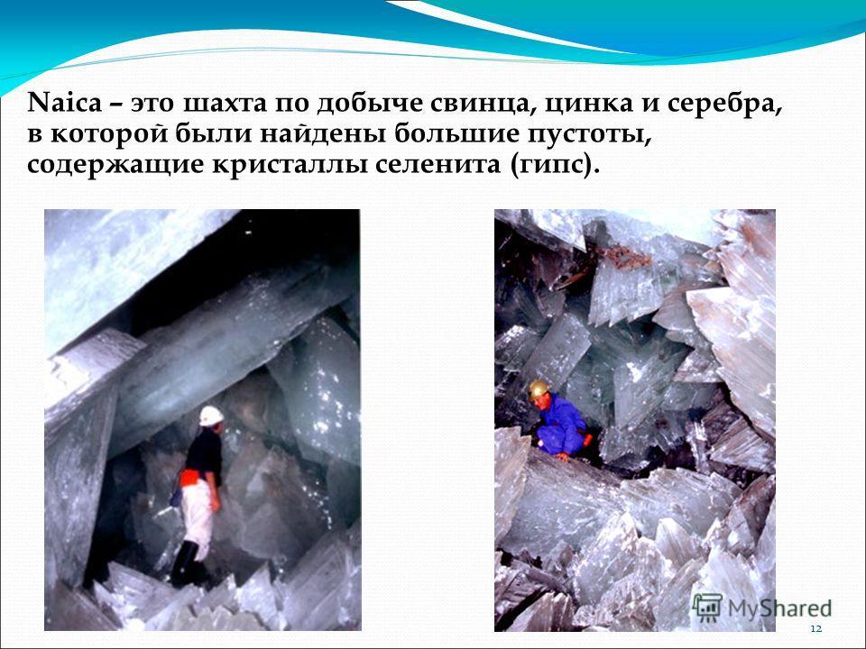 Naica – это шахта по добыче свинца, цинка и серебра, в которой были найдены большие пустоты, содержащие кристаллы селенита (гипс). 12