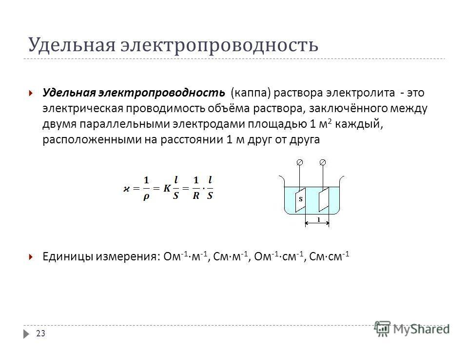 Удельная электропроводность Удельная электропроводность ( каппа ) раствора электролита - это электрическая проводимость объёма раствора, заключённого между двумя параллельными электродами площадью 1 м 2 каждый, расположенными на расстоянии 1 м друг о