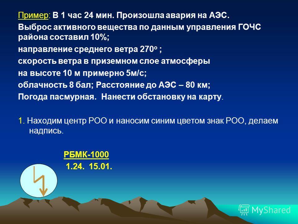 Пример: В 1 час 24 мин. Произошла авария на АЭС. Выброс активного вещества по данным управления ГОЧС района составил 10%; направление среднего ветра 270 о ; скорость ветра в приземном слое атмосферы на высоте 10 м примерно 5 м/с; облачность 8 бал; Ра