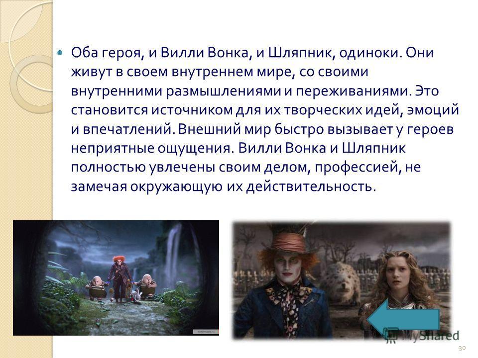 Оба героя, и Вилли Вонка, и Шляпник, одиноки. Они живут в своем внутреннем мире, со своими внутренними размышлениями и переживаниями. Это становится источником для их творческих идей, эмоций и впечатлений. Внешний мир быстро вызывает у героев неприят