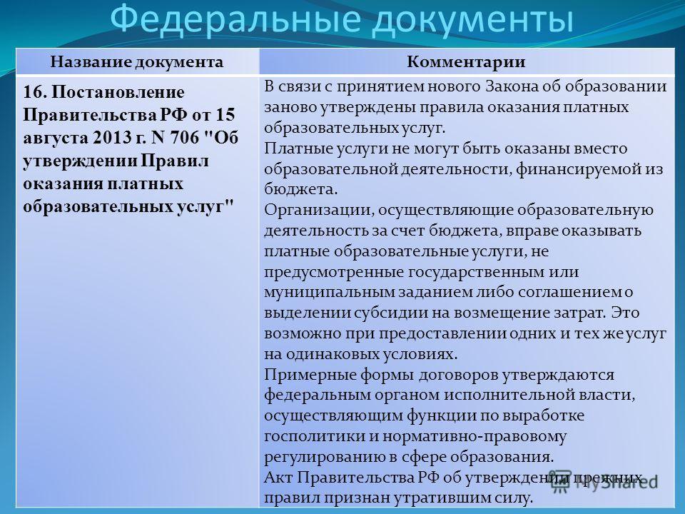 Федеральные документы Название документа Комментарии 16. Постановление Правительства РФ от 15 августа 2013 г. N 706
