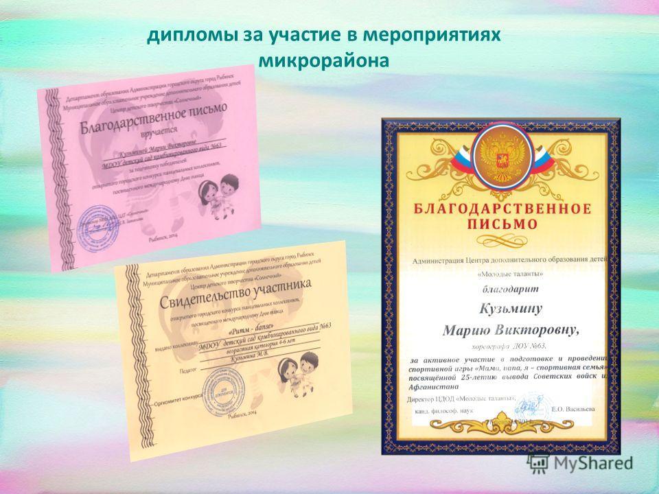 дипломы за участие в мероприятиях микрорайона