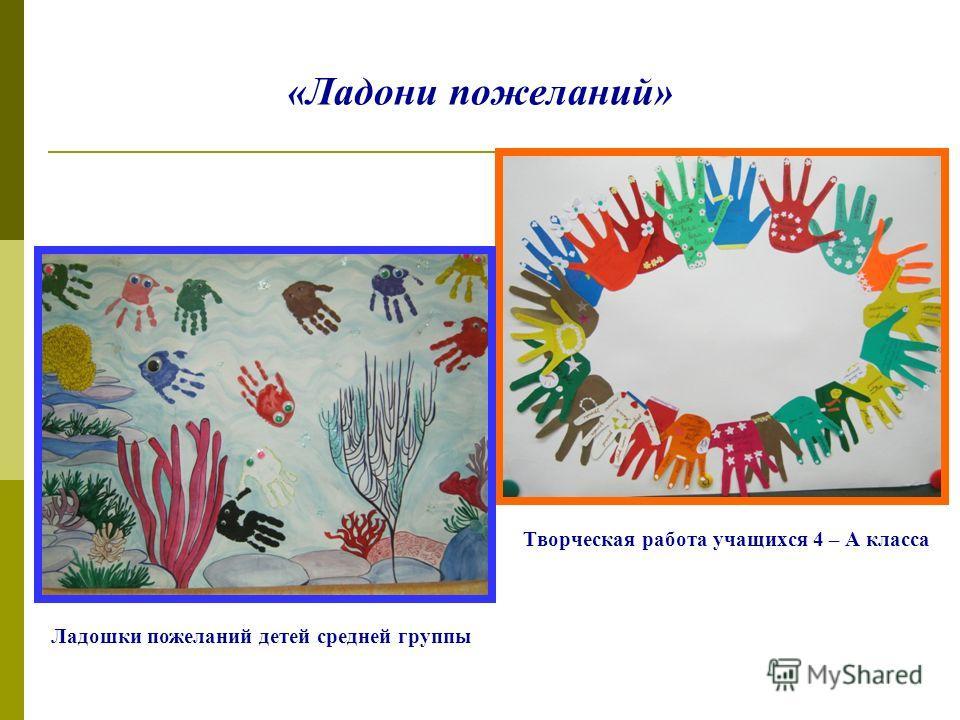 «Ладони пожеланий» Творческая работа учащихся 4 – А класса Ладошки пожеланий детей средней группы