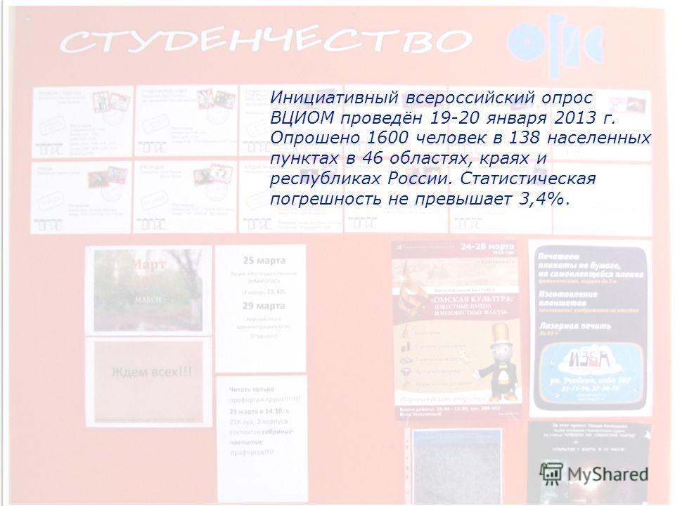 Инициативный всероссийский опрос ВЦИОМ проведён 19-20 января 2013 г. Опрошено 1600 человек в 138 населенных пунктах в 46 областях, краях и республиках России. Статистическая погрешность не превышает 3,4%.