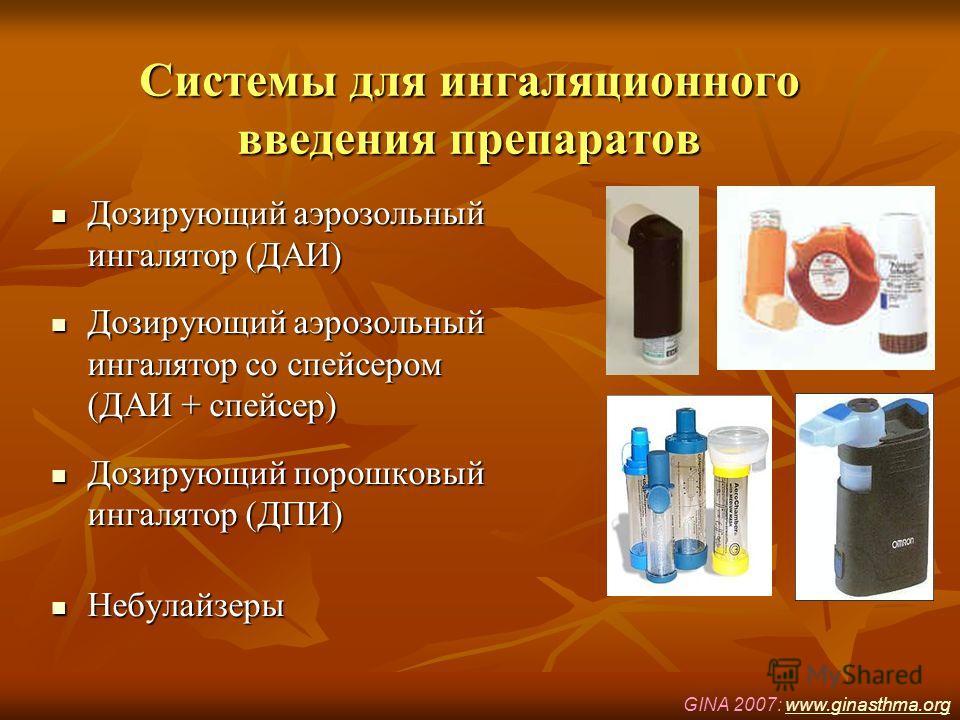 Системы для ингаляционного введения препаратов Дозирующий аэрозольный ингалятор (ДАИ) Дозирующий аэрозольный ингалятор (ДАИ) Дозирующий аэрозольный ингалятор со спейсером (ДАИ + спейсер) Дозирующий аэрозольный ингалятор со спейсером (ДАИ + спейсер) Д