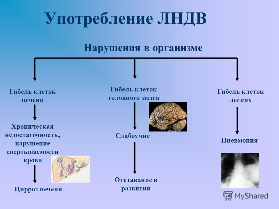 Употребление ЛНДВ Гибель клеток печени Хроническая недостаточность, нарушение свертываемости крови Цирроз печени Гибель клеток головного мозга Слабоумие Отставание в развитии Гибель клеток легких Пневмония Нарушения в организме