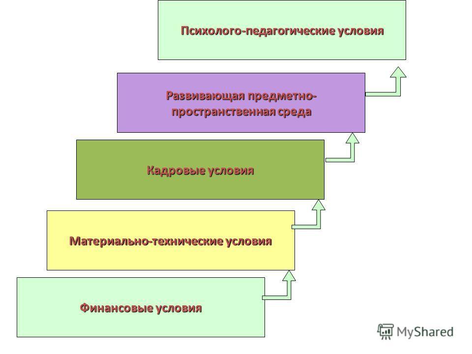 Финансовые условия Материально-технические условия Кадровые условия Развивающая предметно- пространственная среда Психолого-педагогические условия