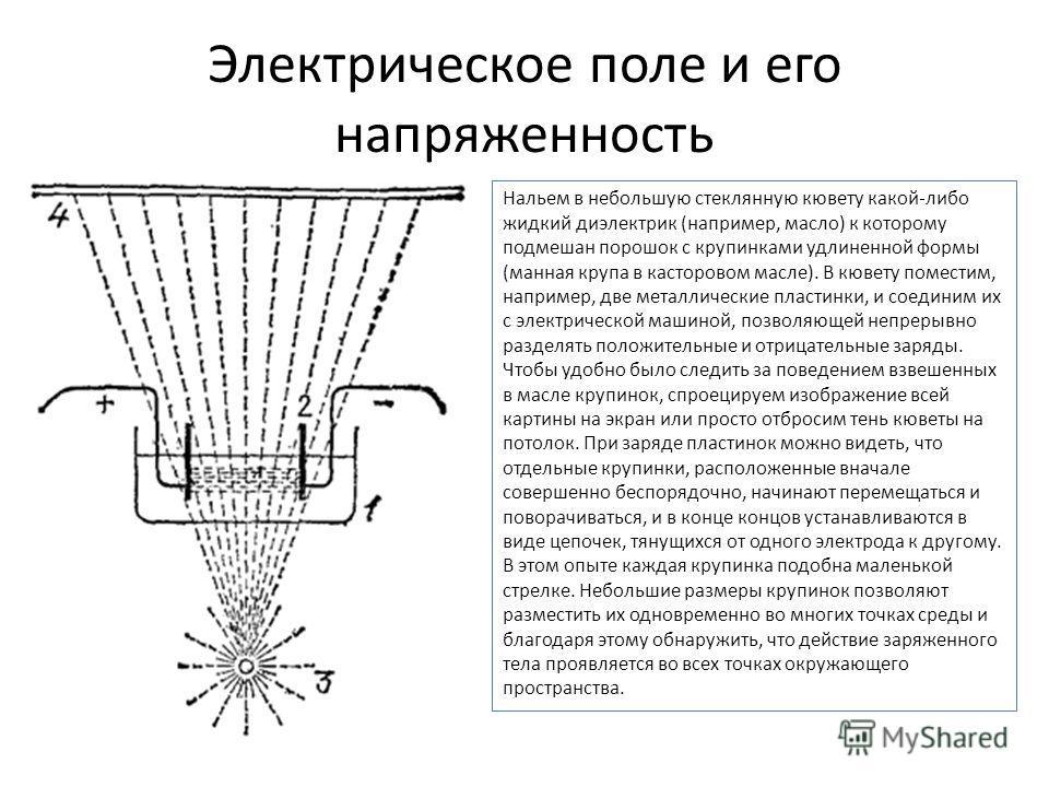 Электрическое поле и его напряженность Нальем в небольшую стеклянную кювету какой-либо жидкий диэлектрик (например, масло) к которому подмешан порошок с крупинками удлиненной формы (манная крупа в касторовом масле). В кювету поместим, например, две м