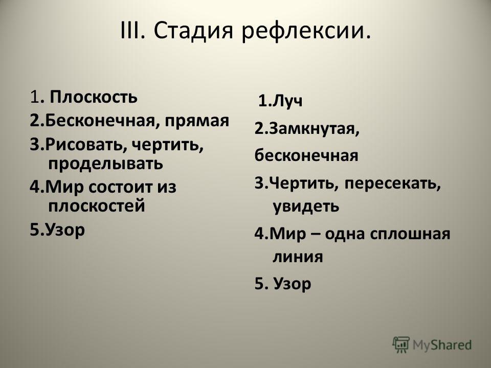 III. Стадия рефлексии. 1. Плоскость 2.Бесконечная, прямая 3.Рисовать, чертить, проделывать 4. Мир состоит из плоскостей 5. Узор 1. Луч 2.Замкнутая, бесконечная 3.Чертить, пересекать, увидеть 4. Мир – одна сплошная линия 5. Узор