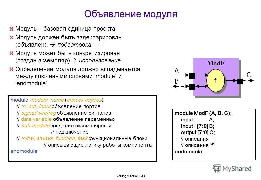 Verilog tutorial ( 4 ) Объявление модуля Модуль – базовая единица проекта. Модуль должен быть задекларирован (объявлен). подготовка Mодуль может быть конкретизирован (создан экземпляр) использование Определение модуля должно вкладывается между ключев