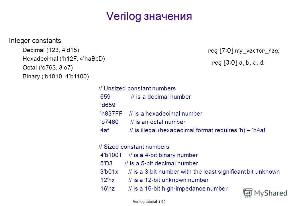 Verilog значения Verilog tutorial ( 9 ) Integer constants Decimal (123, 4d15) Hexadecimal (h12F, 4haBcD) Octal (o763, 3o7) Binary (b1010, 4b1100) // Unsized constant numbers 659 // is a decimal number d659 'h837FF // is a hexadecimal number 'o7460 //