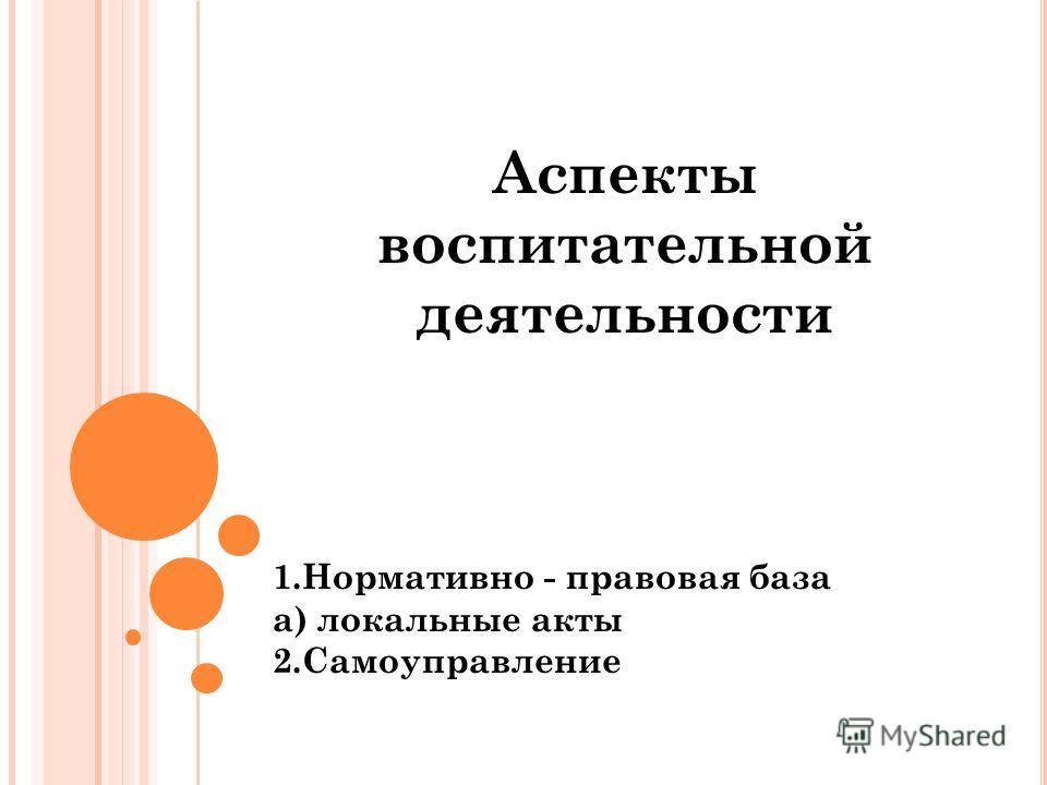 Аспекты воспитательной деятельности 1. Нормативно - правовая база а) локальные акты 2.Самоуправление
