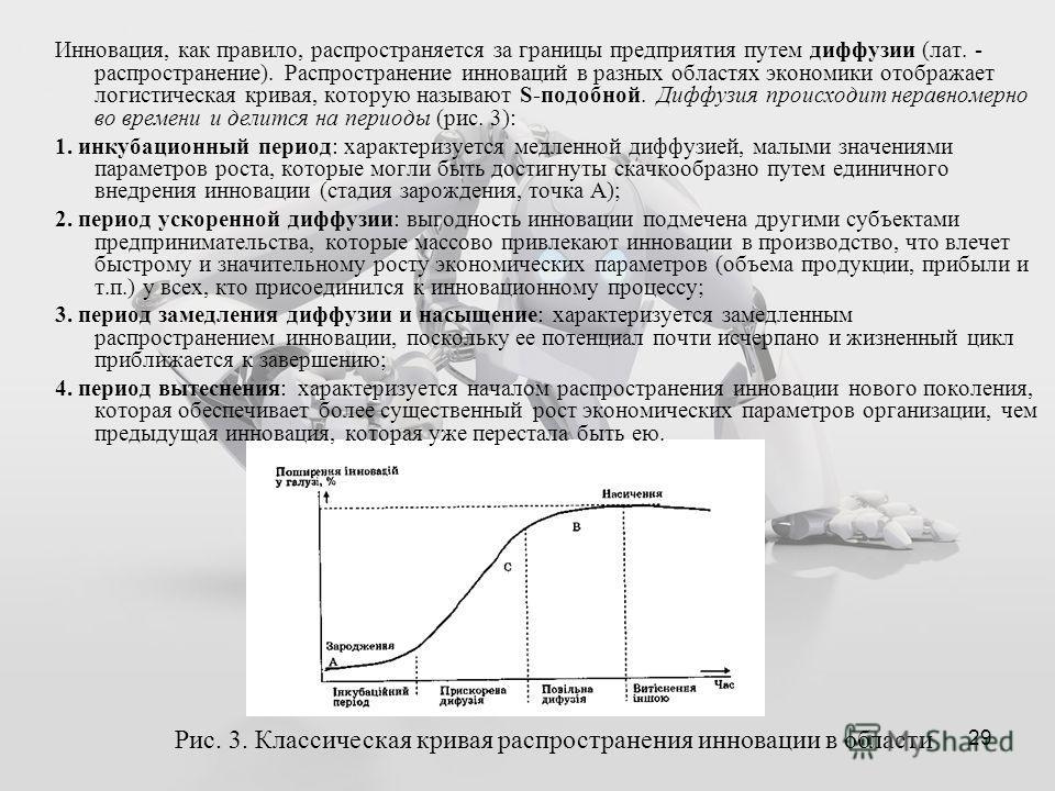 29 Рис. 3. Классическая кривая распространения инновации в области Инновация, как правило, распространяется за границы предприятия путем диффузии (лат. - распространение). Распространение инноваций в разных областях экономики отображает логистическая