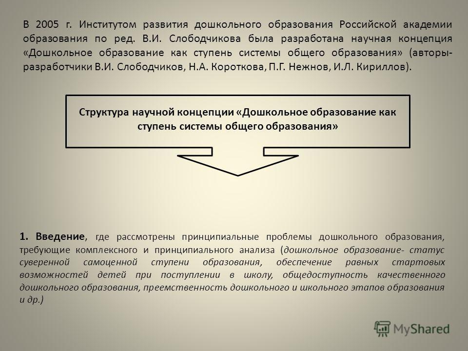 В 2005 г. Институтом развития дошкольного образования Российской академии образования по ред. В.И. Слободчикова была разработана научная концепция «Дошкольное образование как ступень системы общего образования» (авторы- разработчики В.И. Слободчиков,