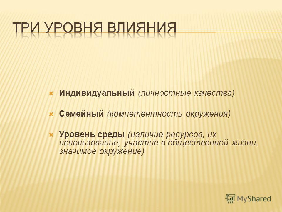 Индивидуальный (личностные качества) Семейный (компетентность окружения) Уровень среды (наличие ресурсов, их использование, участие в общественной жизни, значимое окружение)