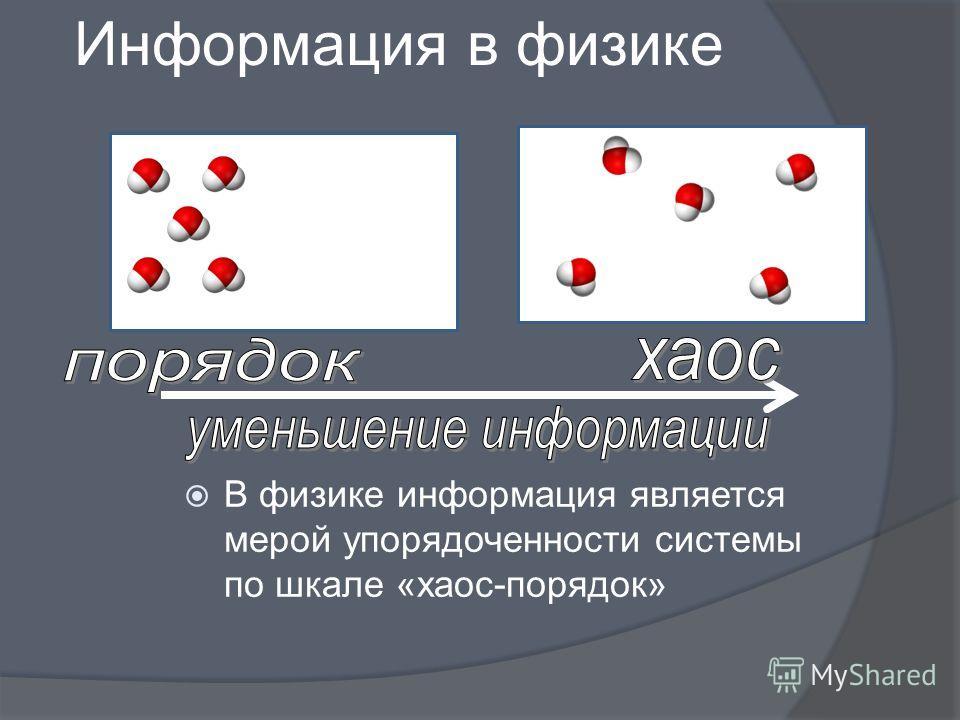 Информация в физике В физике информация является мерой упорядоченности системы по шкале «хаос-порядок»