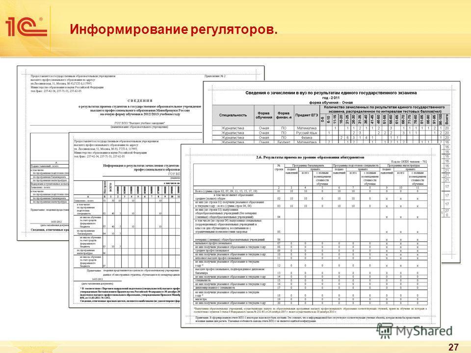 27 Информирование регуляторов.