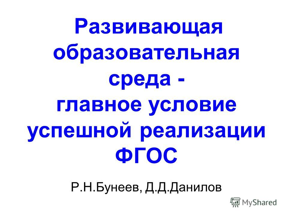 Развивающая образовательная среда - главное условие успешной реализации ФГОС Р.Н.Бунеев, Д.Д.Данилов
