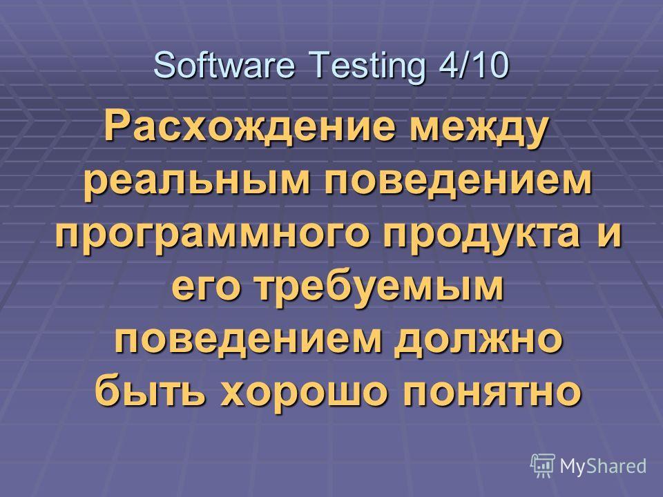 Расхождение между реальным поведением программного продукта и его требуемым поведением должно быть хорошо понятно Software Testing 4/10
