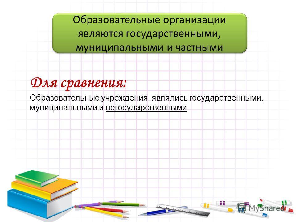 Образовательные организации являются государственными, муниципальными и частными Для сравнения: Образовательные учреждения являлись государственными, муниципальными и негосударственными