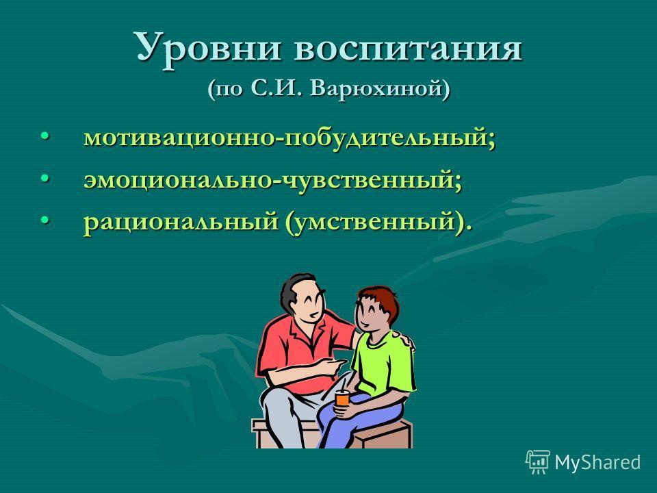 Уровни воспитания (по С.И. Варюхиной) мотивационно-побудительный; эмоционально-чувственный; рациональный (умственный).
