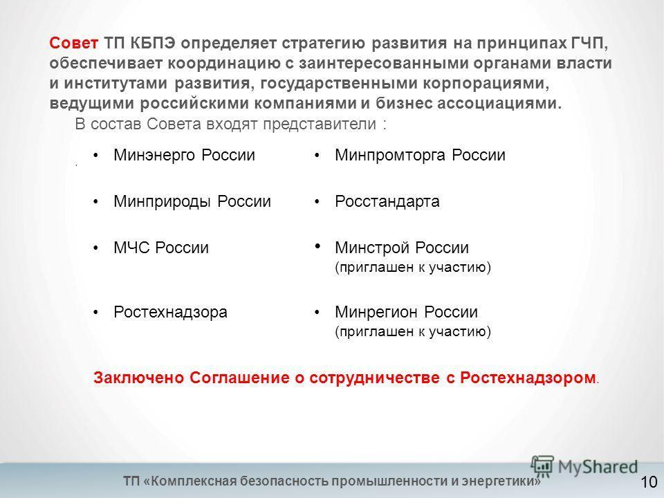 ТП «Комплексная безопасность промышленности и энергетики» Совет ТП КБПЭ определяет стратегию развития на принципах ГЧП, обеспечивает координацию с заинтересованными органами власти и институтами развития, государственными корпорациями, ведущими росси