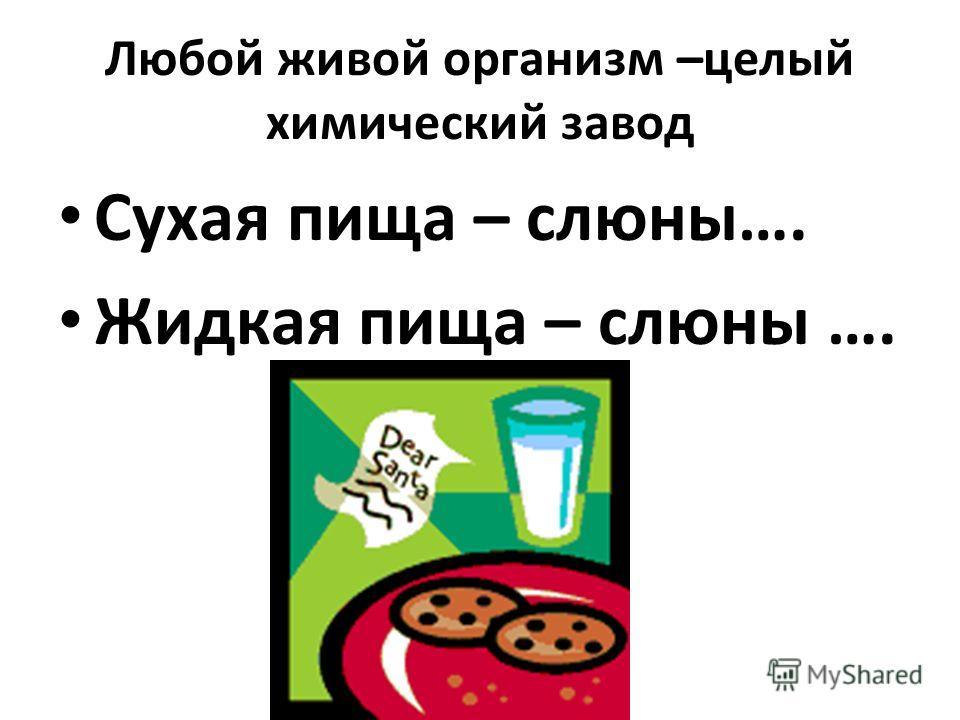 Любой живой организм –целый химический завод Сухая пища – слюны…. Жидкая пища – слюны ….