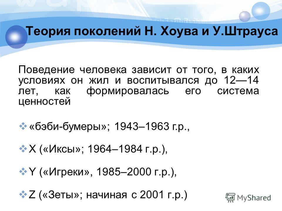 Теория поколений Н. Хоува и У.Штрауса Поведение человека зависит от того, в каких условиях он жил и воспитывался до 1214 лет, как формировалась его система ценностей «бэби-бумеры»; 1943–1963 г.р., X («Иксы»; 1964–1984 г.р.), Y («Игреки», 1985–2000 г.