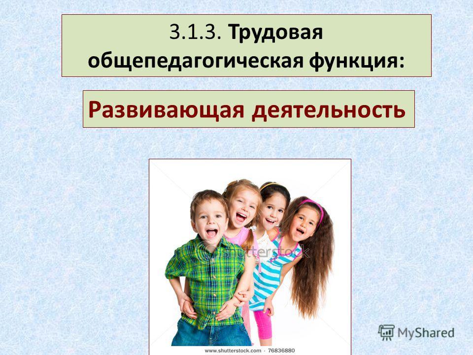 3.1.3. Трудовая общепедагогическая функция: Развивающая деятельность