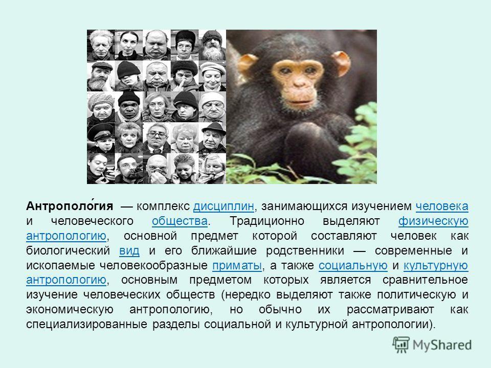 Антрополо́гия комплекс дисциплин, занимающихся изучением человека и человеческого общества. Традиционно выделяют физическую антропологию, основной предмет которой составляют человек как биологический вид и его ближайшие родственники современные и иск