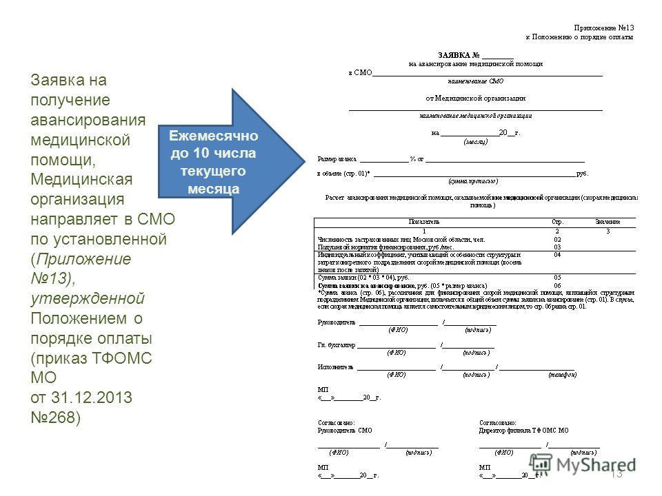 Заявка на получение авансирования медицинской помощи, Медицинская организация направляет в СМО по установленной (Приложение 13), утвержденной Положением о порядке оплаты (приказ ТФОМС МО от 31.12.2013 268) Ежемесячно до 10 числа текущего месяца 13