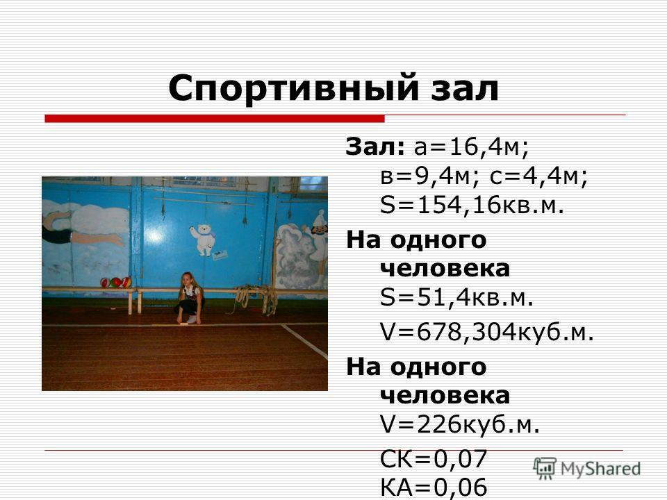 Спортивный зал Зал: а=16,4 м; в=9,4 м; с=4,4 м; S=154,16 кв.м. На одного человека S=51,4 кв.м. V=678,304 куб.м. На одного человека V=226 куб.м. СК=0,07 КА=0,06