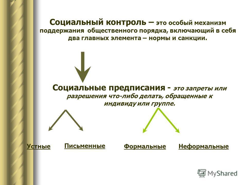 Социальный контроль – это особый механизм поддержания общественного порядка, включающий в себя два главных элемента – нормы и санкции. Социальные предписания - это запреты или разрешения что-либо делать, обращенные к индивиду или группе. Устные Письм