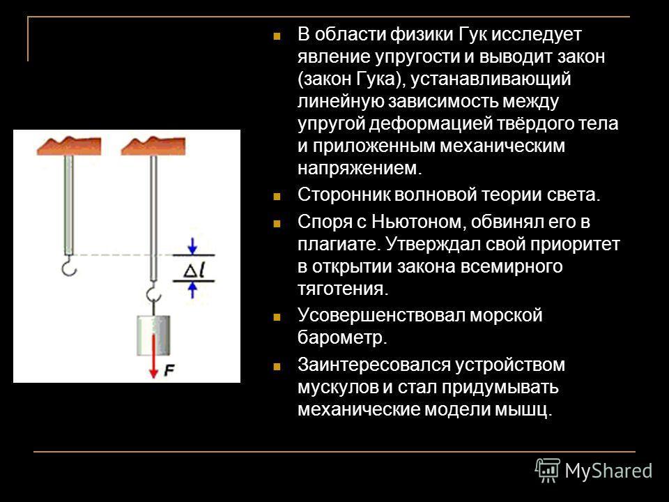 В области физики Гук исследует явление упругости и выводит закон (закон Гука), устанавливающий линейную зависимость между упругой деформацией твёрдого тела и приложенным механическим напряжением. Сторонник волновой теории света. Споря с Ньютоном, обв