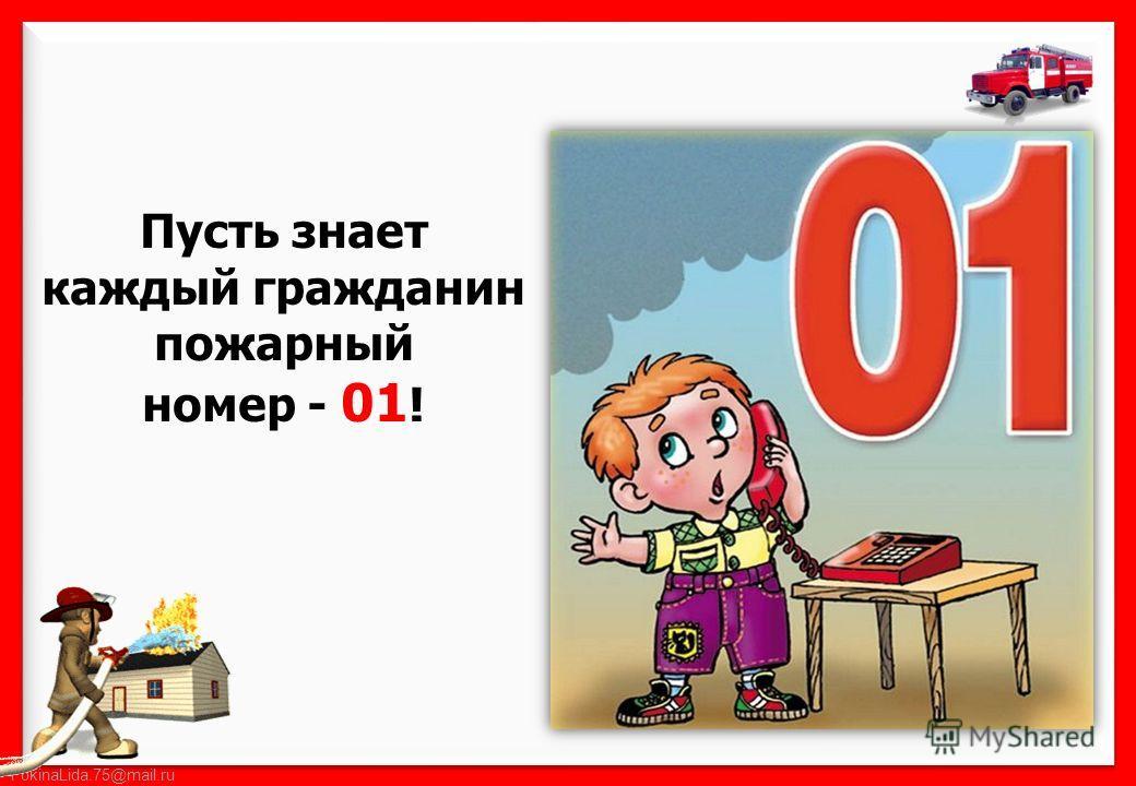 Пусть знает каждый гражданин пожарный номер - 01 !