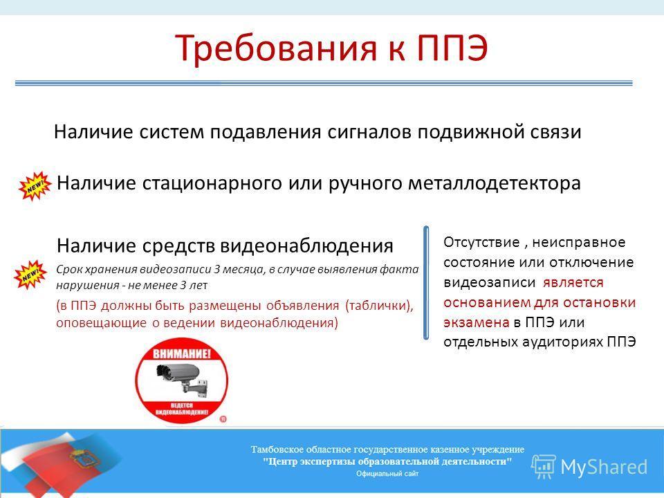 Требования к ППЭ Наличие систем подавления сигналов подвижной связи Наличие средств видеонаблюдения Срок хранения видеозаписи 3 месяца, в случае выявления факта нарушения - не менее 3 лет (в ППЭ должны быть размещены объявления (таблички), оповещающи