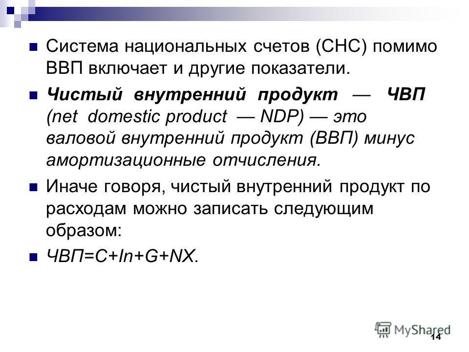 14 Система национальных счетов (СНС) помимо ВВП включает и другие показатели. Чистый внутренний продукт ЧВП (net domestic product NDP) это валовой внутренний продукт (ВВП) минус амортизационные отчисления. Иначе говоря, чистый внутренний продукт по р