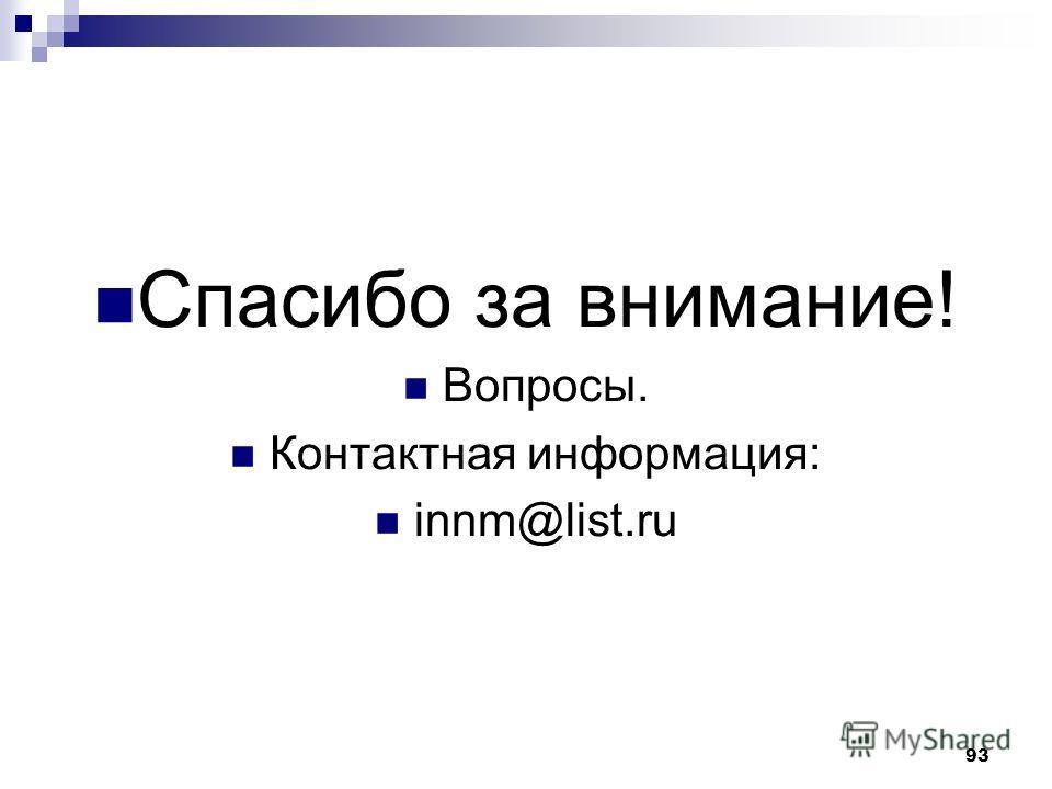 93 Спасибо за внимание! Вопросы. Контактная информация: innm@list.ru