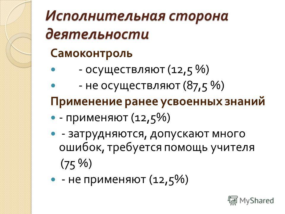 Исполнительная сторона деятельности Самоконтроль - осуществляют (12,5 %) - не осуществляют (87,5 %) Применение ранее усвоенных знаний - применяют (12,5%) - затрудняются, допускают много ошибок, требуется помощь учителя (75 %) - не применяют (12,5%)