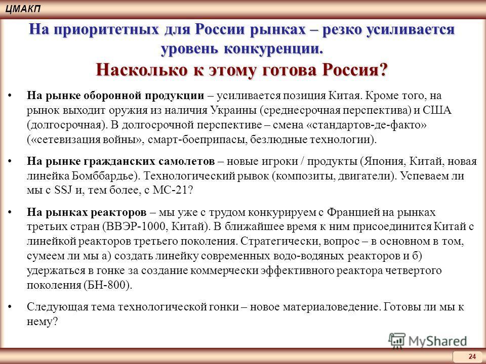 24 ЦМАКП На рынке оборонной продукции – усиливается позиция Китая. Кроме того, на рынок выходит оружия из наличия Украины (среднесрочная перспектива) и США (долгосрочная). В долгосрочной перспективе – смена «стандартов-де-факто» («сетевизация войны»,