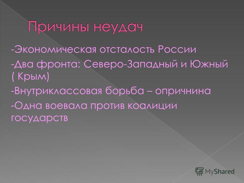 -Экономическая отсталость России -Два фронта: Северо-Западный и Южный ( Крым) -Внутриклассовая борьба – опричнина -Одна воевала против коалиции государств