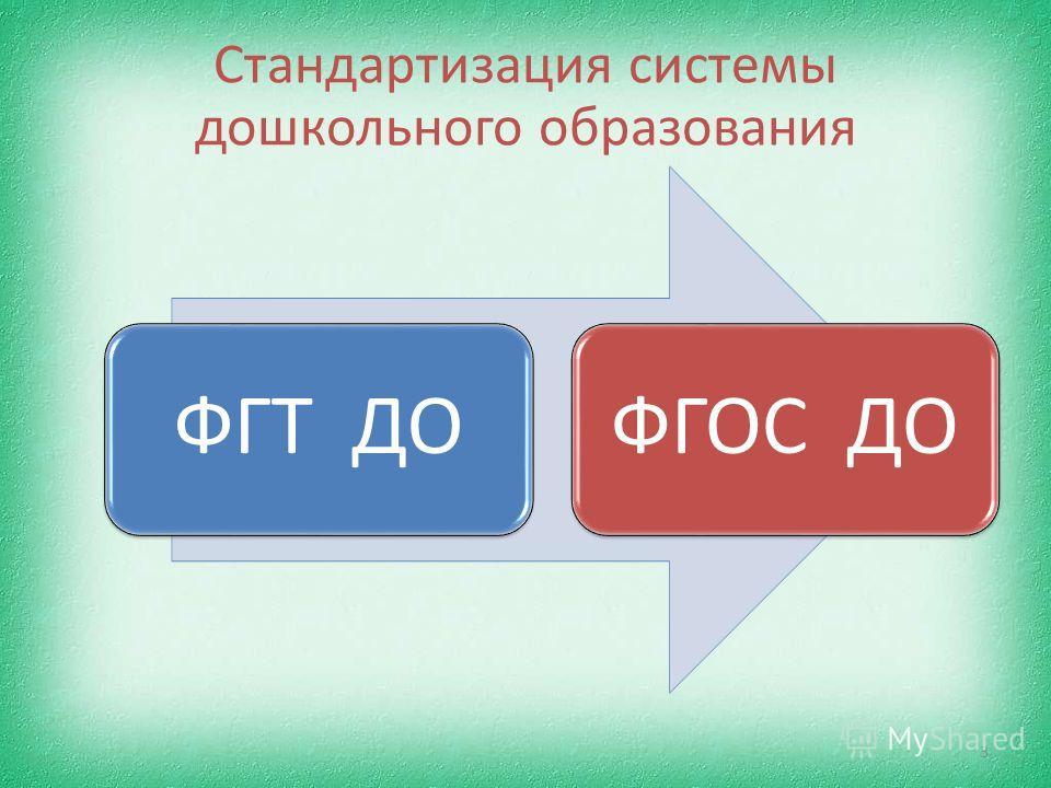 Стандартизация системы дошкольного образования 3 ФГТ ДОФГОС ДО