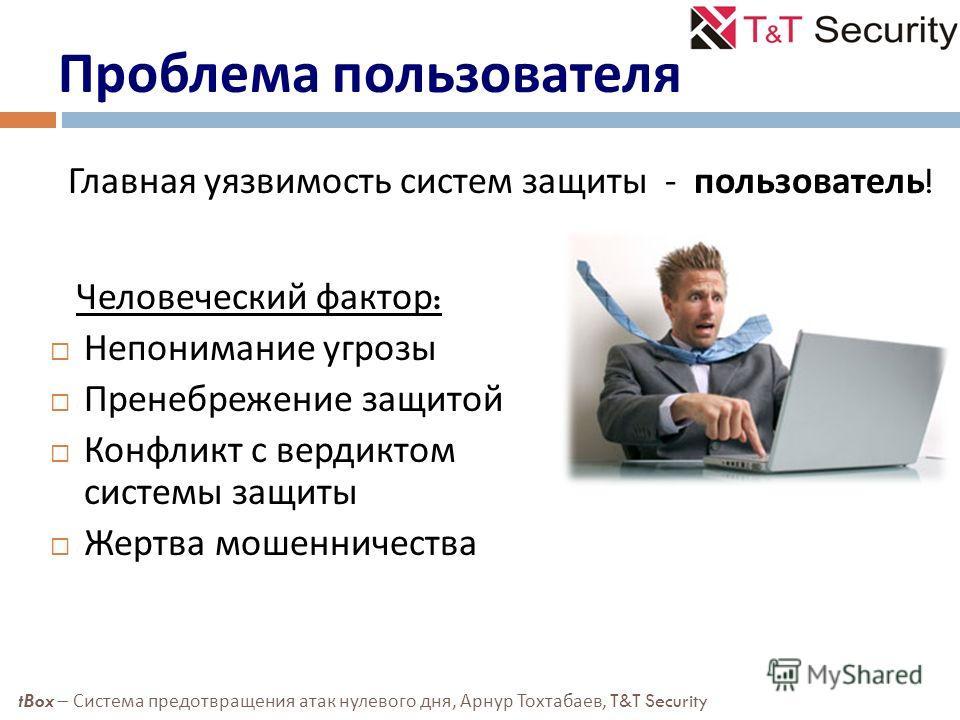 Проблема пользователя Главная уязвимость систем защиты - пользователь ! tBox – Система предотвращения атак нулевого дня, Арнур Тохтабаев, T&T Security Человеческий фактор : Непонимание угрозы Пренебрежение защитой Конфликт с вердиктом системы защиты