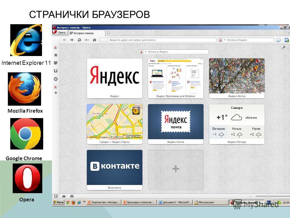 СТРАНИЧКИ БРАУЗЕРОВ Internet Explorer 11 Mozilla Firefox Google Chrome Opera