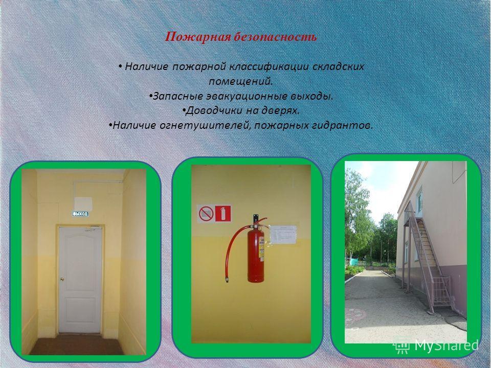 Пожарная безопасность Наличие пожарной классификации складских помещений. Запасные эвакуационные выходы. Доводчики на дверях. Наличие огнетушителей, пожарных гидрантов.