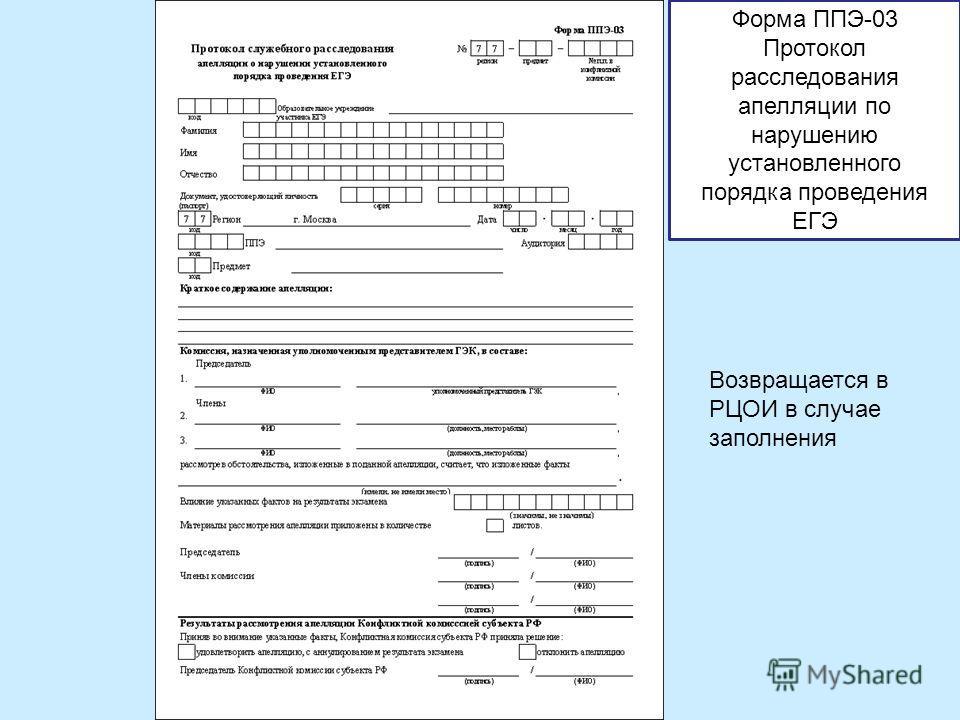 Возвращается в РЦОИ в случае заполнения Форма ППЭ-03 Протокол расследования апелляции по нарушению установленного порядка проведения ЕГЭ