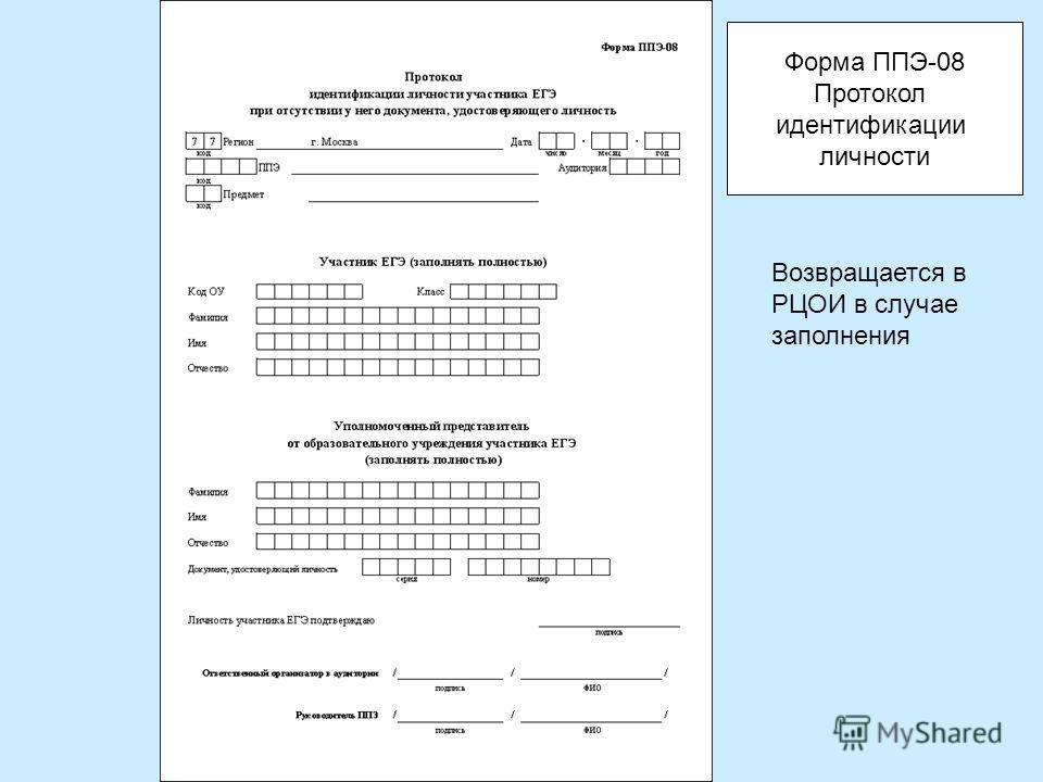 Возвращается в РЦОИ в случае заполнения Форма ППЭ-08 Протокол идентификации личности