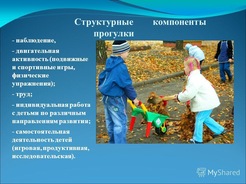 Структурные компоненты прогулки - наблюдение, - двигательная активность (подвижные и спортивные игры, физические упражнения); - труд; - индивидуальная работа с детьми по различным направлениям развития; - самостоятельная деятельность детей (игровая,