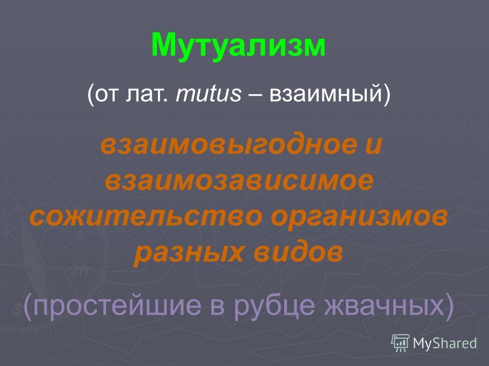 Мутуализм (от лат. mutus – взаимный) взаимовыгодное и взаимозависимое сожительство организмов разных видов (простейшие в рубце жвачных)